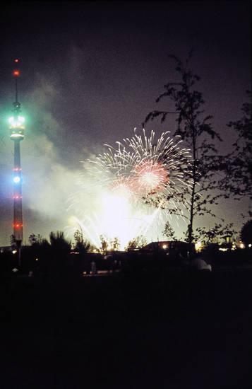 Bundesgarternschau, Dortmund, Fernsehturm Florian, Feuerwerk, westfalenpark