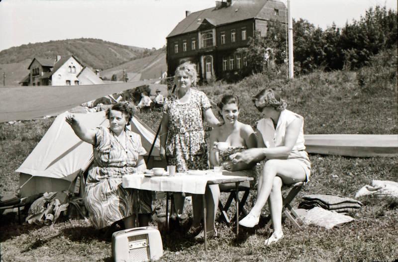camping, familie, freizeit, Kofferradio, Radio, tisch, zelten