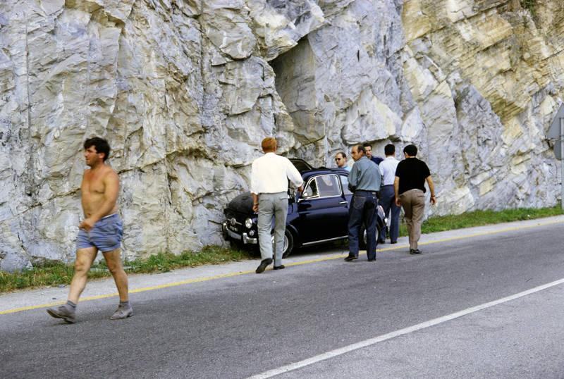 auto, autounfall, felswand, Fiat-500, KFZ, Mailand, PKW