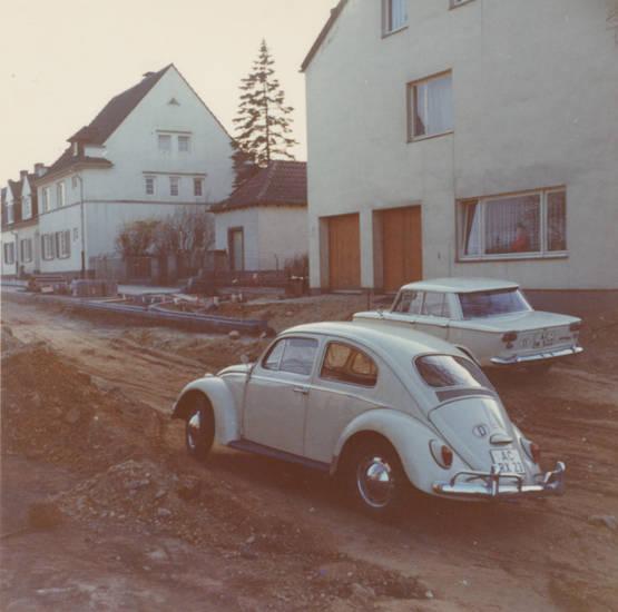 Aachen, Auf Krummerück, auto, Baustelle, käfer, KFZ, PKW, Straßenbau, Umbau, volkswagen, VW-Käfer