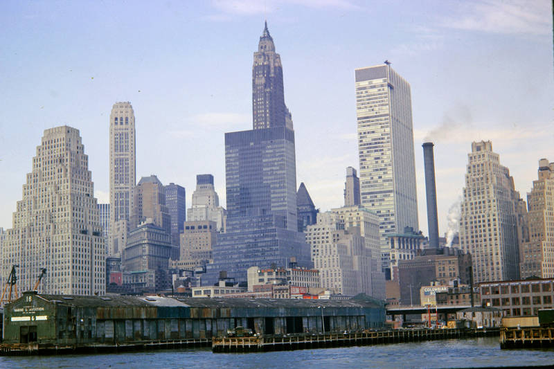 Amerika, Docks, east river, Empire State Building, Manhattan, New York City, skyline, usa
