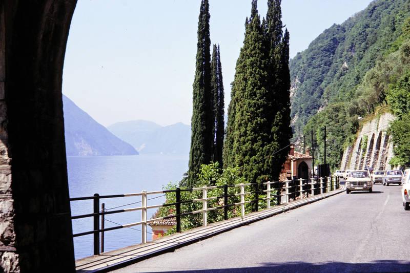 auto, KFZ, Lago Maggiore, PKW, straße, Ufer, Zypresse