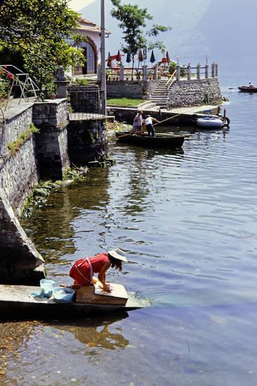alltag, Angler, bar, boot, Lago Maggiore, mode, Terrasse, waschen, waschfrau
