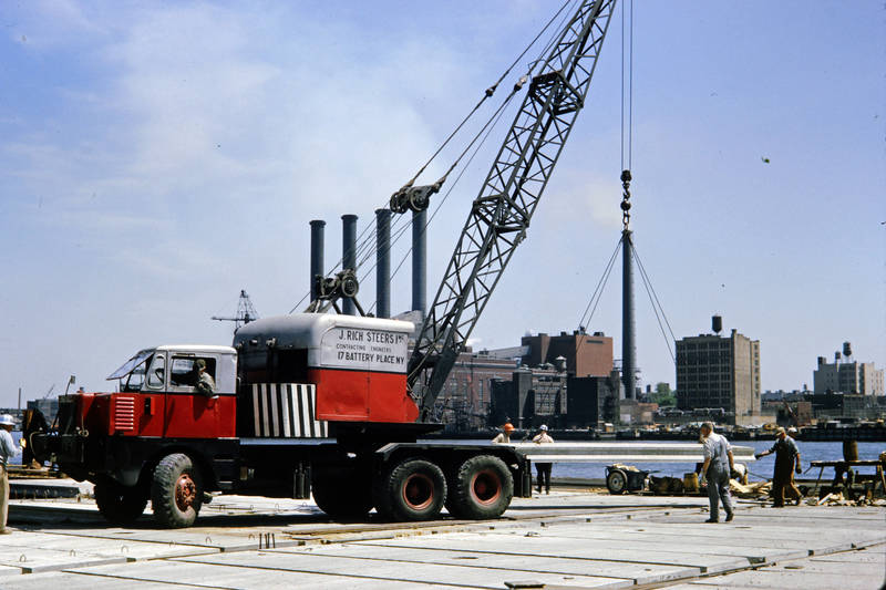 Amerika, Bauarbeiter, Kran, Lastwagenkran, LKW, new york, New York City, Pier