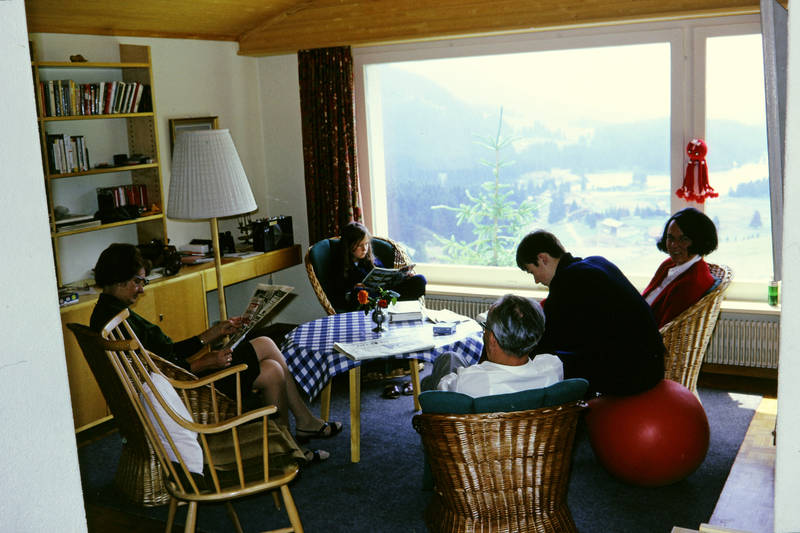 Berg, familie, Heizung, Inneneinrichtung, lampe, Lesen, mode, Panoramablick, regal, schrank, wald, wiese, wohnzimmer, zeitung