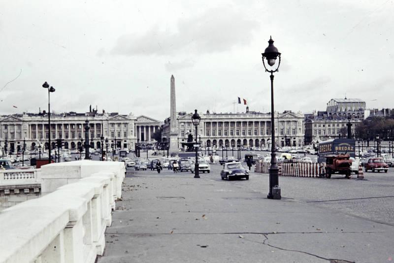 auto, CitroenDS, KFZ, Laterne, Paris, PKW, Place de la Concorde, Renault-Dauphine, stadt