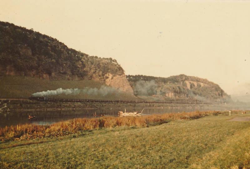 Dampflokomotive, fähre, fluss, Güterzug, Jupp Seiler, Mosel