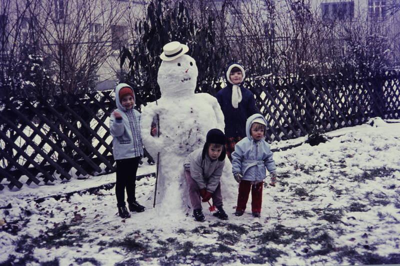 Kindheit, schnee, schneemann, winter
