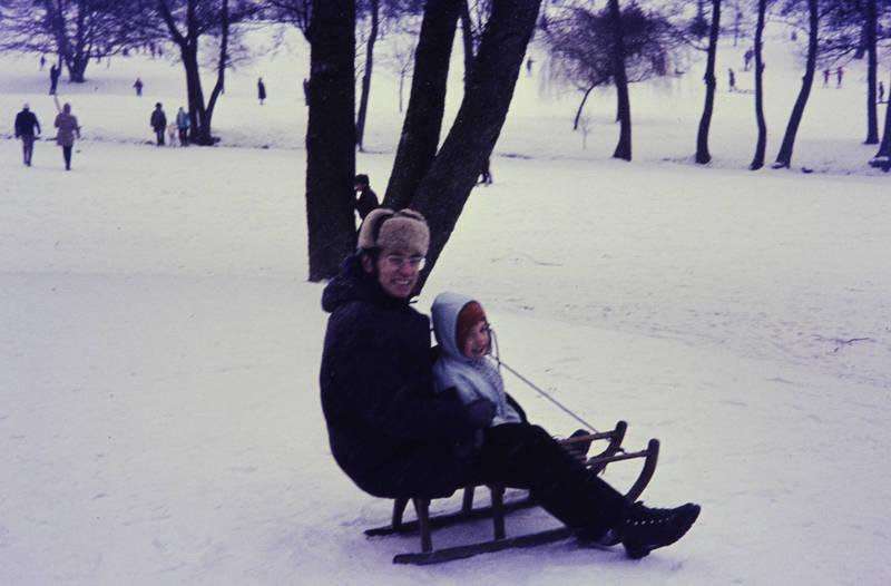 Kindheit, mütze, rodeln, schlitten, schnee, winter