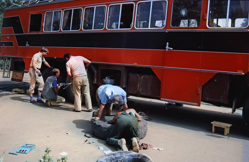 bus, KFZ, Niger, PKW, Reifen, Reparatur, Schlafwagen