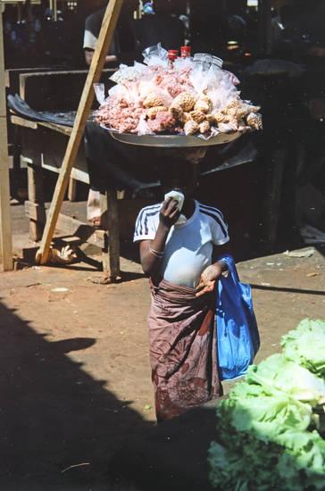 arbeit, Niger, Nüsse, schüssel, transport