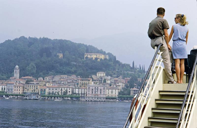 Comer See, fähre, Italien, mode, Paar, San Pietro