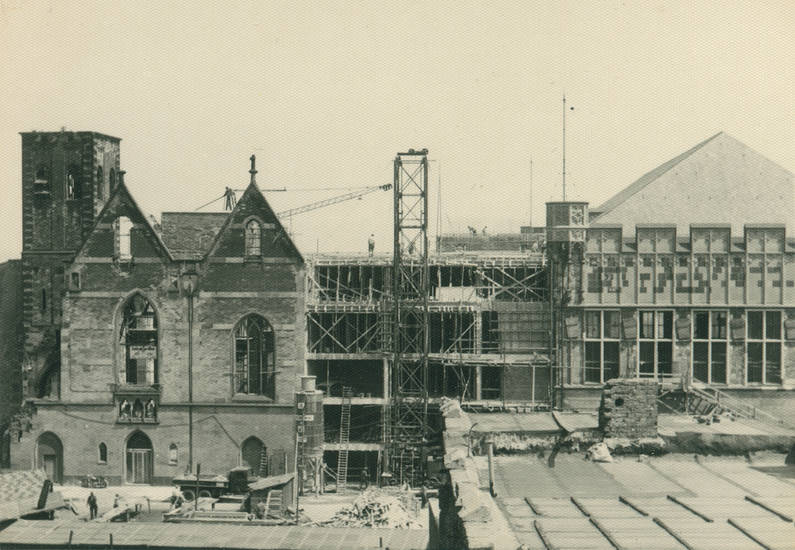 Baustelle, gerüst, Gürzenich, kirche, Kran, st. alban, wiederaufbau