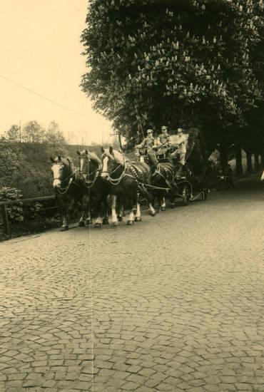 Kastanien, Kutsche, Kutschgespann, Pferd, soldat, straße, Uniform