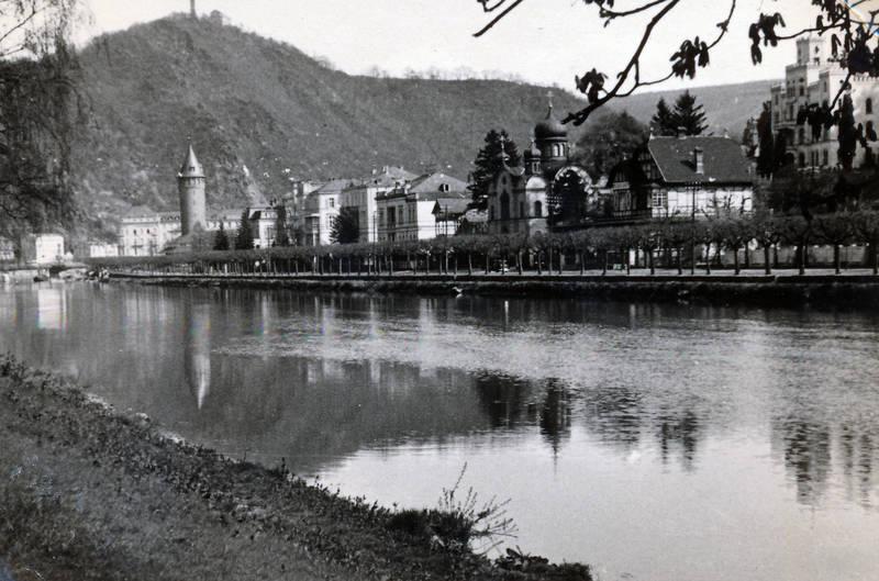 Bad-Ems, baum, fluss, gewässer, kirche, Lahn, Ouellenturm, Rheinland-Pfalz, Russisch-Orthodoxe-Kirche, Schloss-Balmoral, straße, Ufer