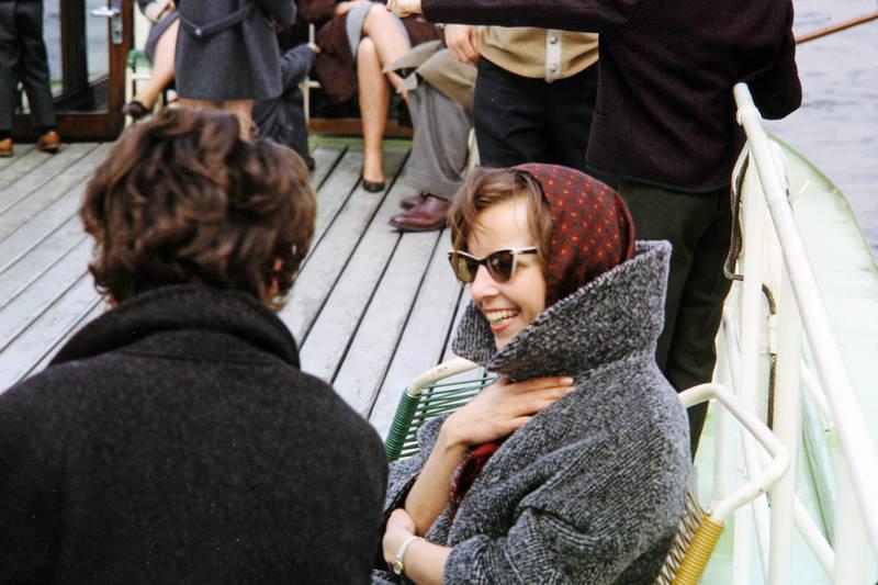 boot, Familientag, mantel, mode, Rhein, sonnenbrille