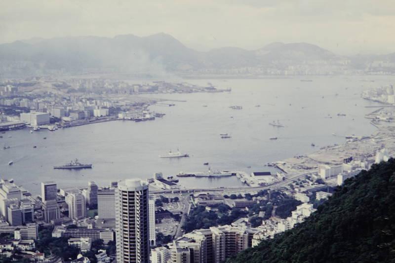 Aussicht, Hafen, Hongkong, Metropole, schiff, südchinesisches Meer