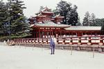 Mann an japanischem Tempel