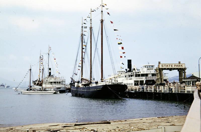 dampfer, gewässer, San Francisco, schiff, Segelschiff, State Park, Steg