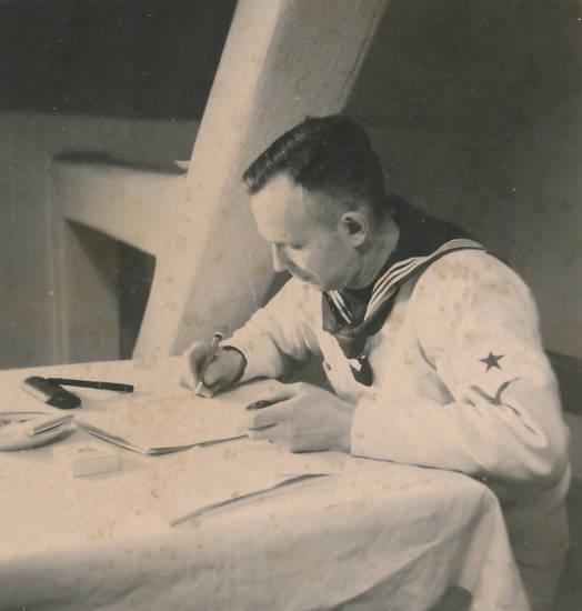 arbeit, füller, Marine, Matrose, schreiben, Uniform
