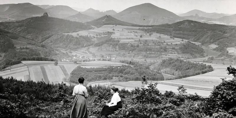 Ausblick, Bauwerk, Berg, dorf, feld, Landwirtschaft, Panorama, Ruine, spaziergang, Tal