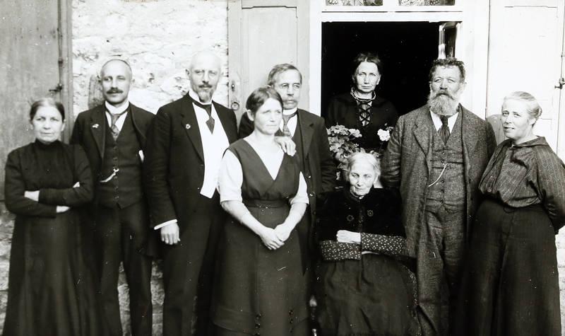 dame, familie, frack, Gruppenbild, mode