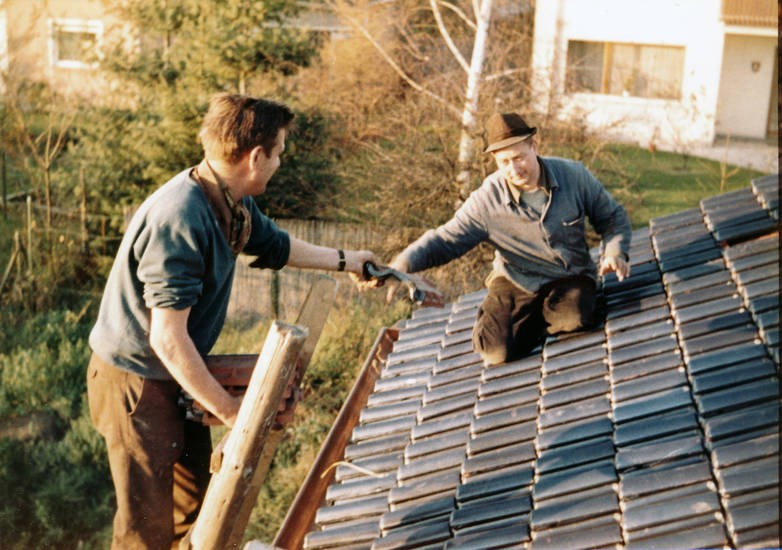 arbeit, Dach, Dachdecker, dachziegel, ziegel