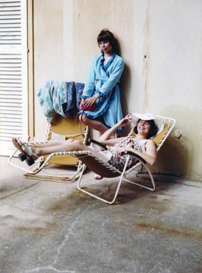 Liegestuhl, Stuhl, urlaub, Wand, zurückgelehnt