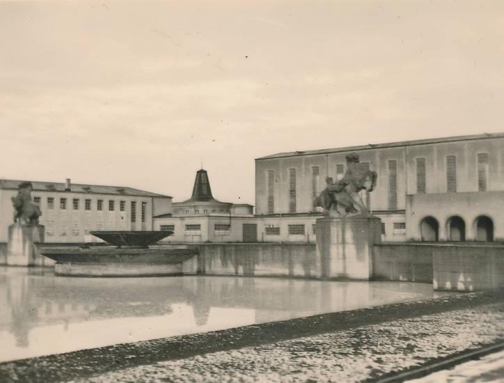 Architektur, Ausstellungsgebäude, Brunnen, Kaiserslautern, teich, volkspark