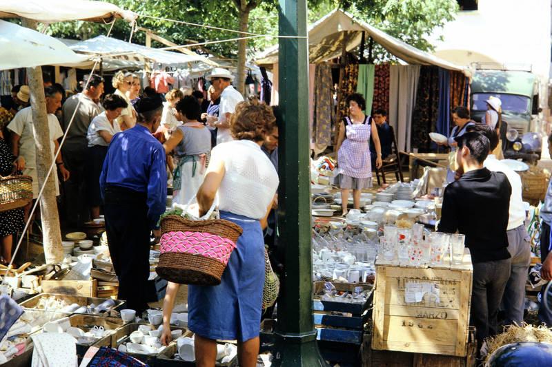 Glas, korb, markt, mode, Porzellan, Spanien, verkäufer