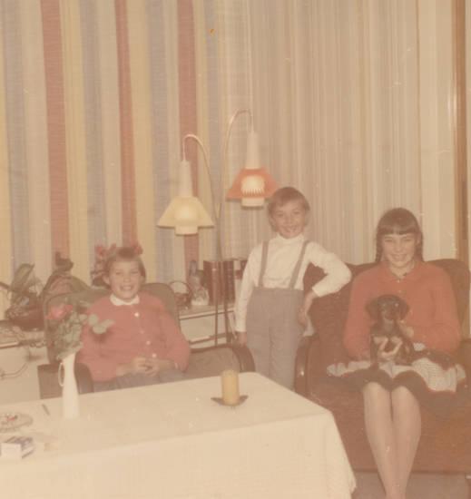 dackel, Geschwister, Grinsen, hund, Kindheit, lachen, stehlampe, vorhang, wohnzimmer