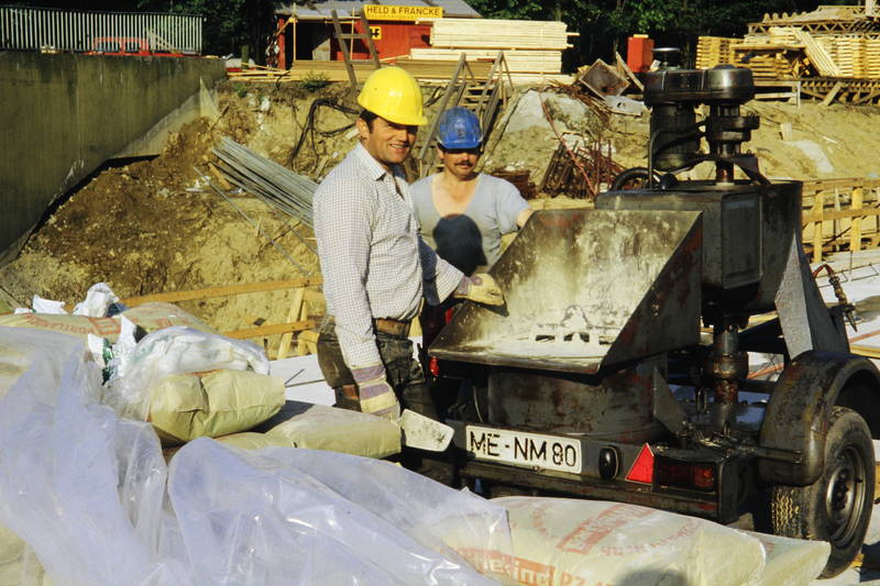 arbeiten, Bauarbeiter, Baustelle, Helm, Hemd, Spachtel