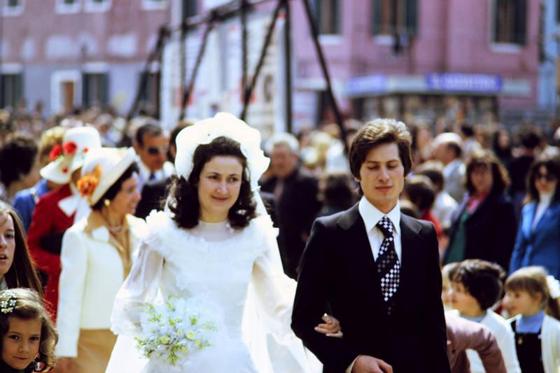 Braut, Bräutigam, Brautstrauß, Hochzeit, Kindheit, Venedig
