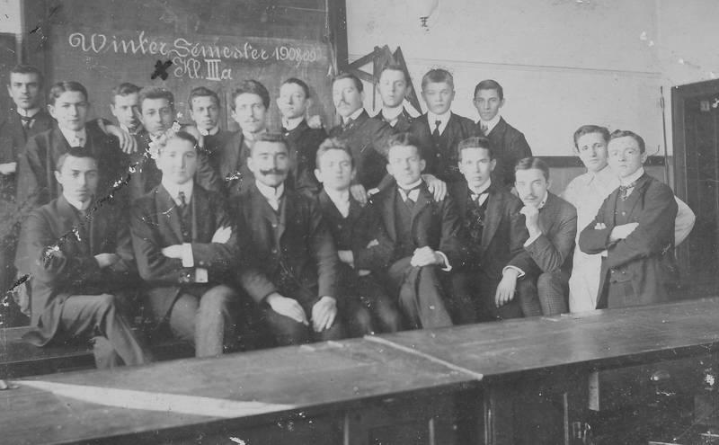 3a, Ausbildung, Berggewerkschule, Jahrgang 1908/09, Klasse IIIa, Klassenzimmer, Schlesien, schule, Schüler, tafel, Wintersemester