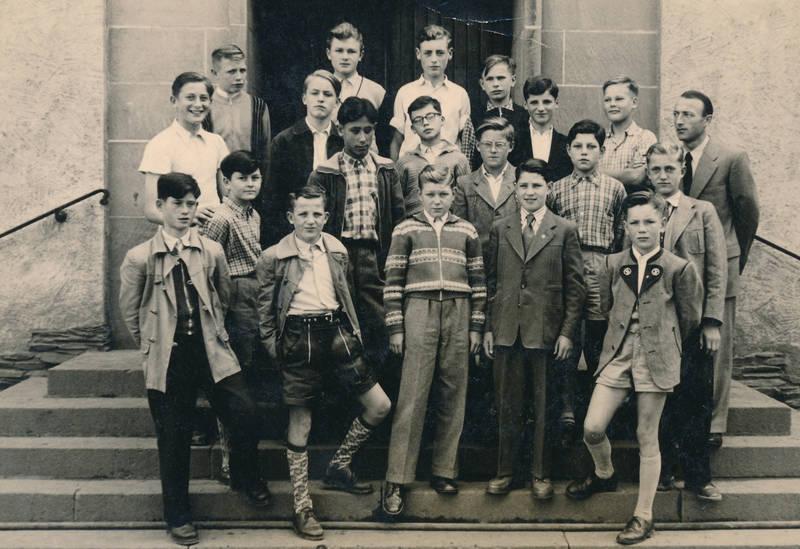 Jungenklasse, lederhose, lehrer, Schüler, Schulklasse, Tracht, Volksschule