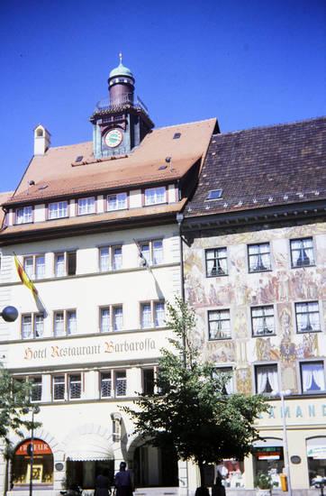 baum, fahne, Friseur, Hotel Restaurant Barbarossa, Konstanz, salamander, uhr