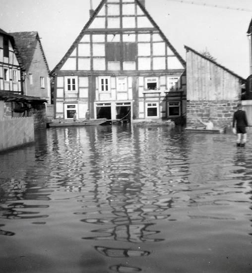 Fenster, haus, Hochwasser, Hochwasserstand, Ruderboot