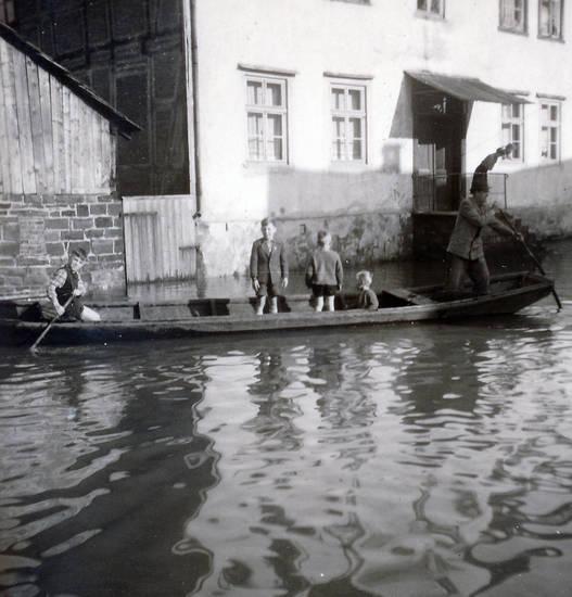 haus, Hochwasser, Kindheit, Ruderboot, Rudern