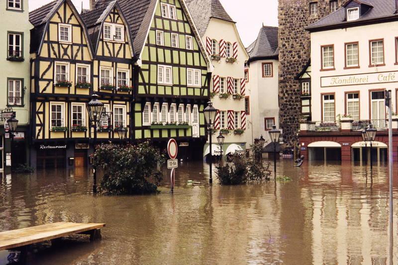 burgplatz, Café Leber, fachwerk, Hochwasser, linz