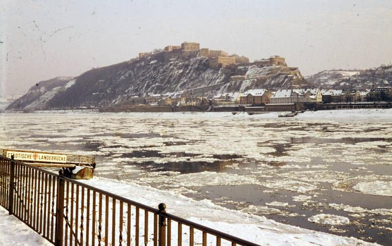 Ehrenbreitstein, Eisscholle, Festung Ehrenbreitstein, fluss, Rhein, schnee, städtische landebrücke, winter