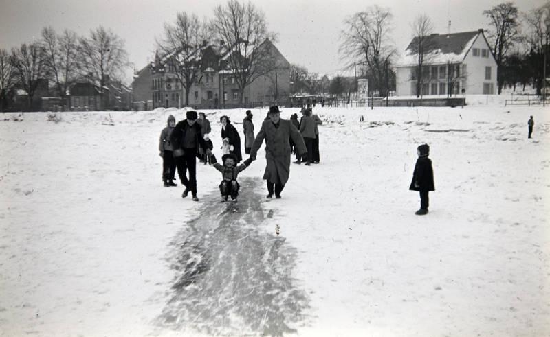 Eis, eisdecke, Güls, Januar 1963, Koblenz, Moselweiß, schnee, Spaß, winter, Winterlandschaft