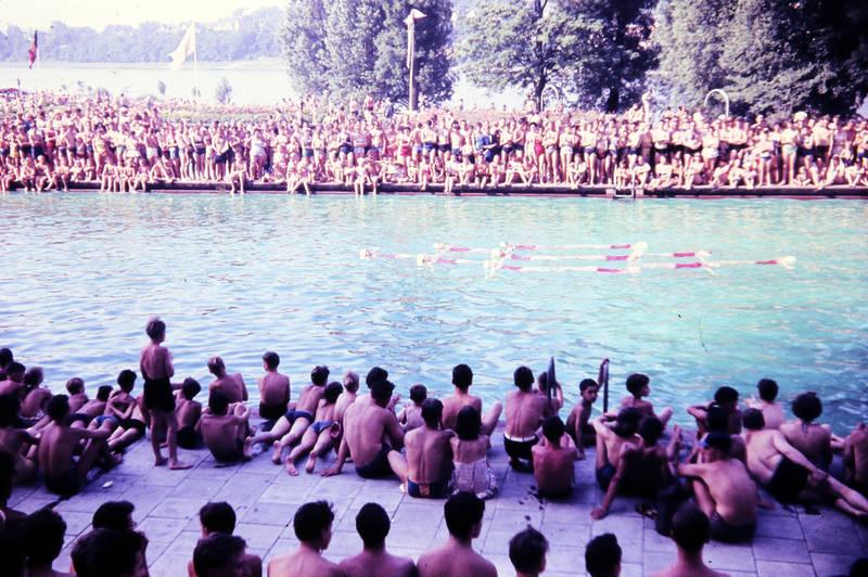 freibad, schwimmbad, synchronschwimmen, synchronschwimmer, Zuschauer