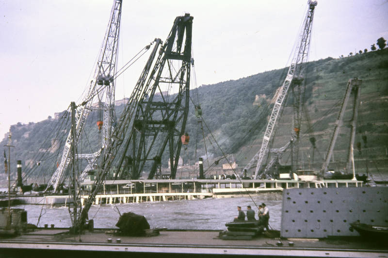 Bergung, Festung Ehrenbreitstein, fluss, KD-Rheinschiff, Koblenz, Kran, Mosel, MS Mainz, Rhein, schiff