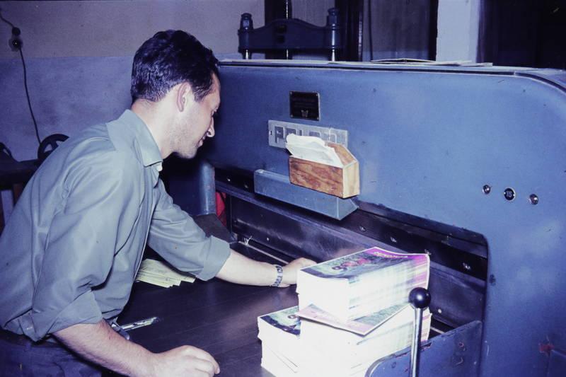 arbeit, arbeiten, Druckerei, papier, schneidemaschine