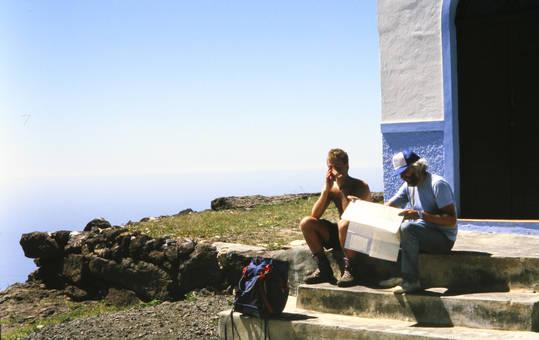 An der Treppe auf dem Berg