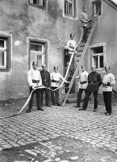 arbeit, Feuerwehr, leiter, Pickelhaube, schlauch, Uniform