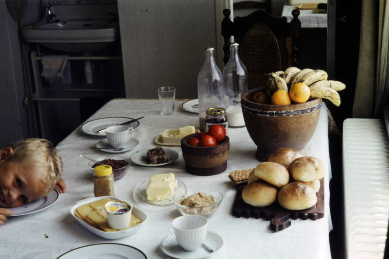 Banane, essen, frühstück, Kindheit, teller, tisch