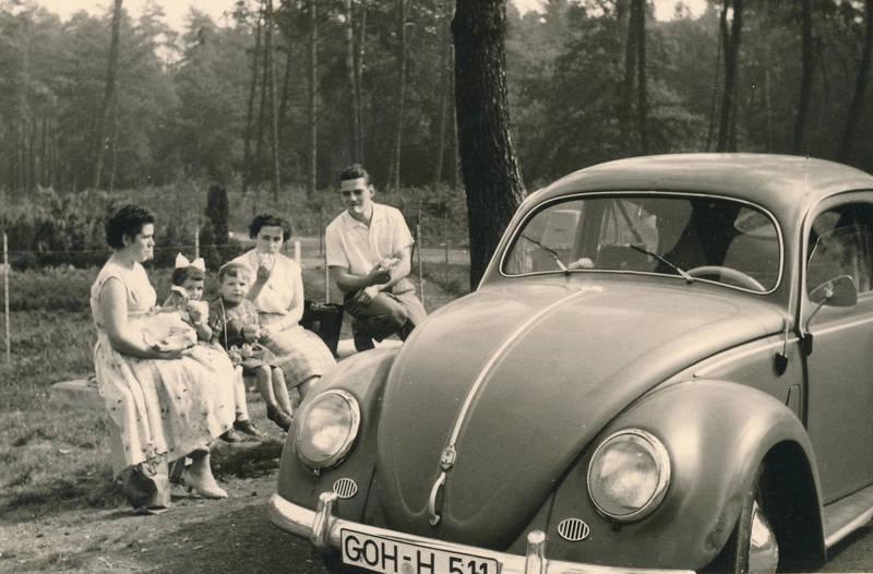 auto, Bank, brezelfenster, brezelkäfer, familie, KFZ, picknick, PKW, vw, VW Käfer, VW-Käfer, wald