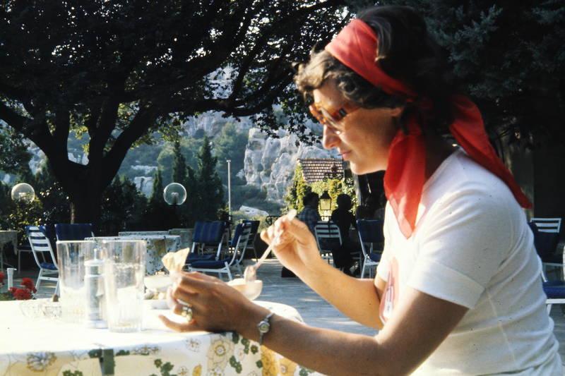 Brille, café, essen, Löffel, restaurant, schüssel, sonnenbrille, Terrasse, tisch