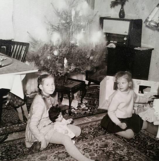 Bescherung, christbaum, Kindheit, puppe, Tannenbaum, Weihnachten, Weihnachtsbaum